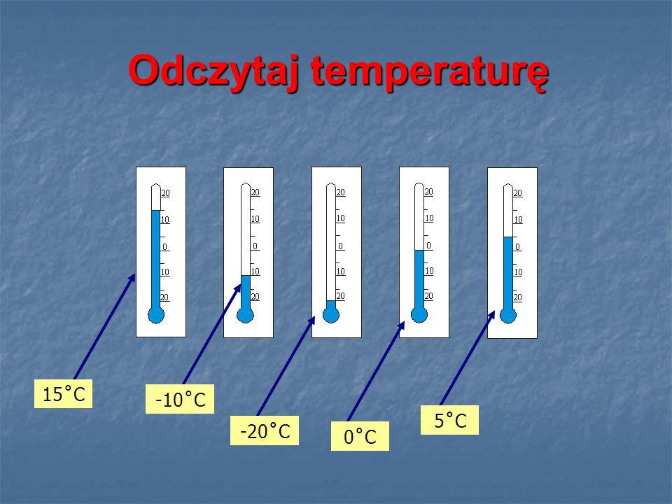 Odczytaj temperaturę 15˚C -10˚C 5˚C -20˚C 0˚C
