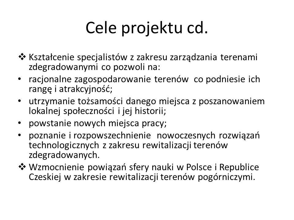 Cele projektu cd. Kształcenie specjalistów z zakresu zarządzania terenami zdegradowanymi co pozwoli na: