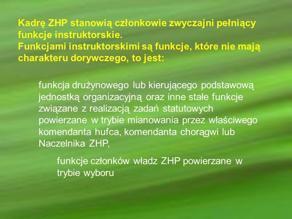 Kadrę ZHP stanowią członkowie zwyczajni pełniący funkcje instruktorskie.