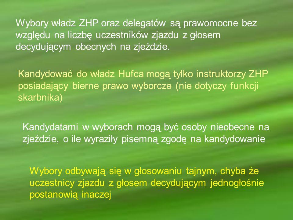 Wybory władz ZHP oraz delegatów są prawomocne bez względu na liczbę uczestników zjazdu z głosem decydującym obecnych na zjeździe.