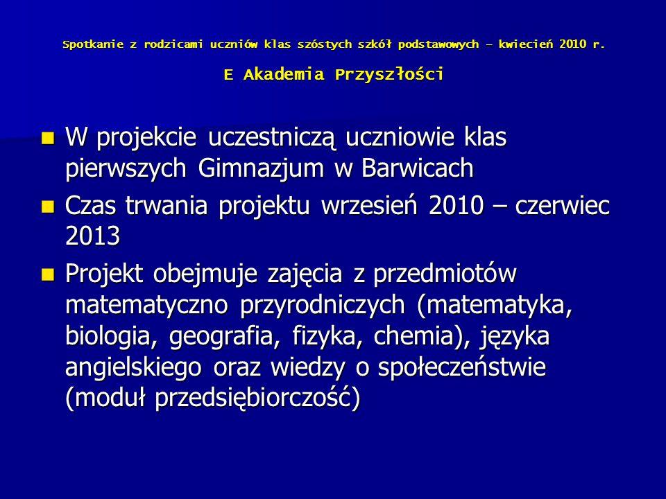 Czas trwania projektu wrzesień 2010 – czerwiec 2013