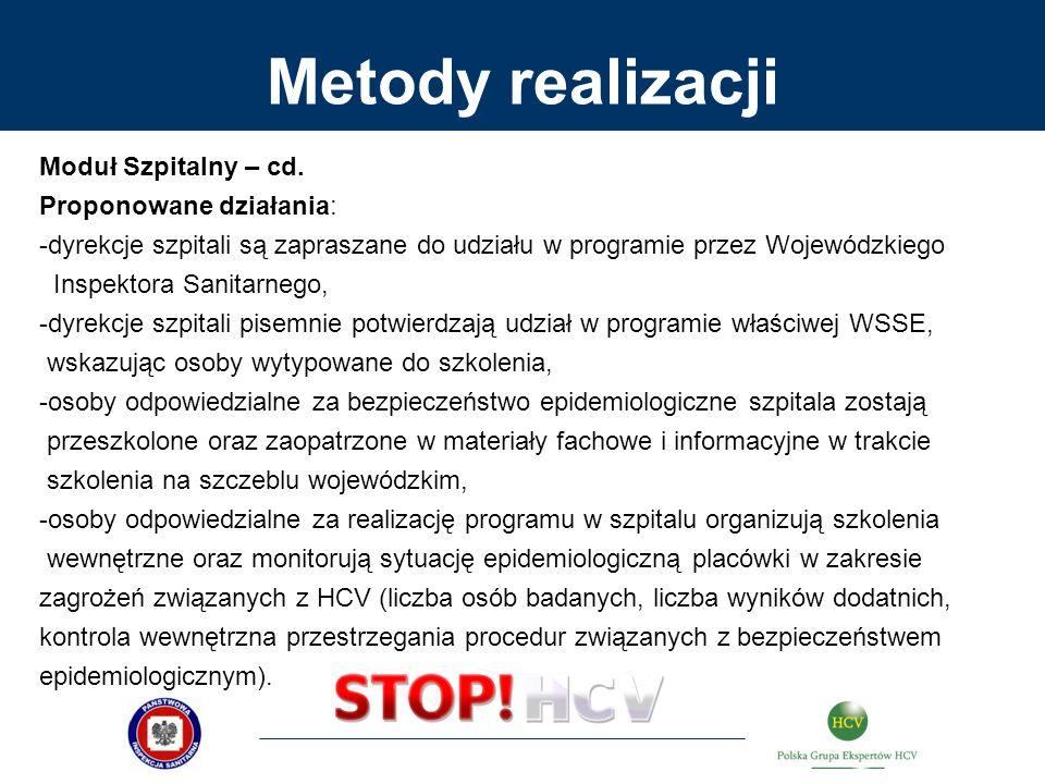 Metody realizacji Moduł Szpitalny – cd. Proponowane działania: