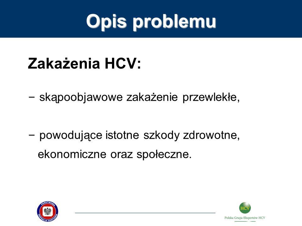 Opis problemu Zakażenia HCV: skąpoobjawowe zakażenie przewlekłe,