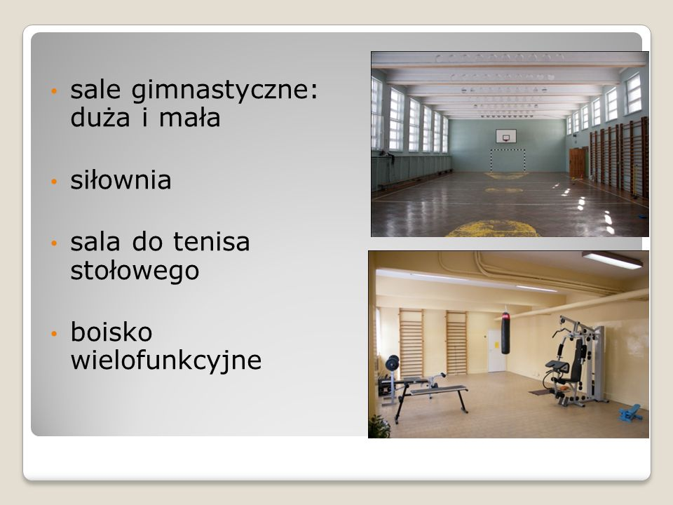 sale gimnastyczne: duża i mała