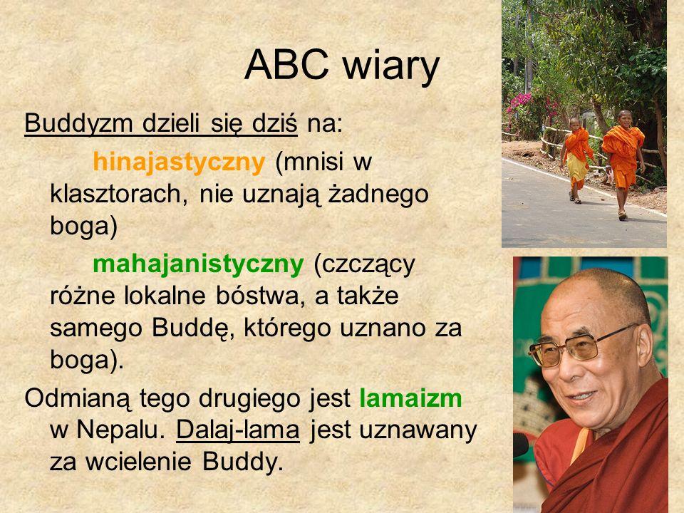 ABC wiary Buddyzm dzieli się dziś na: