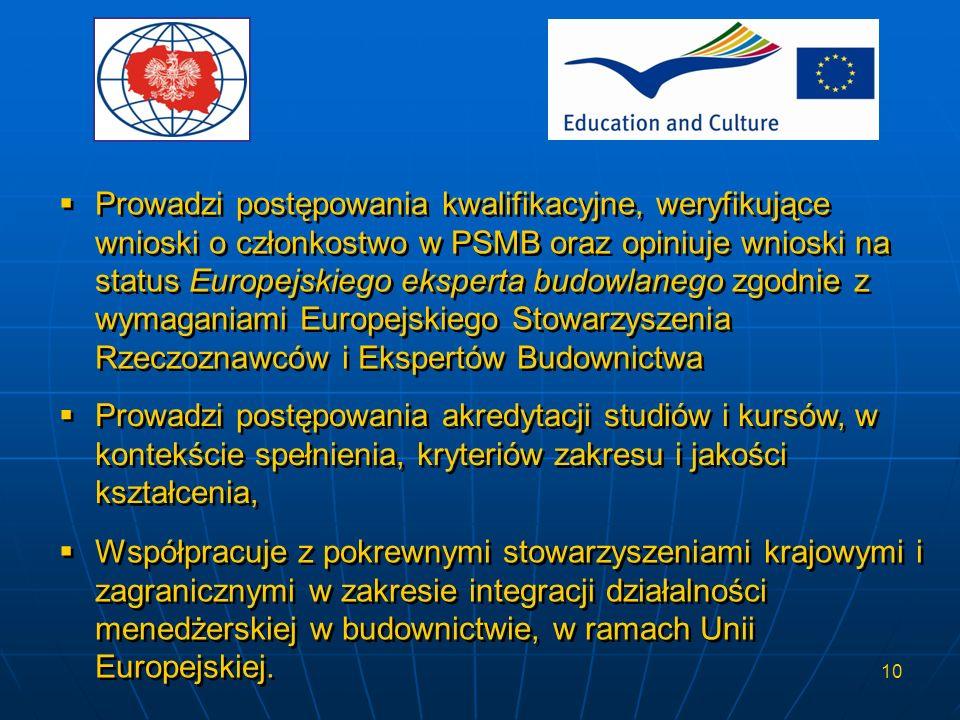 Prowadzi postępowania kwalifikacyjne, weryfikujące wnioski o członkostwo w PSMB oraz opiniuje wnioski na status Europejskiego eksperta budowlanego zgodnie z wymaganiami Europejskiego Stowarzyszenia Rzeczoznawców i Ekspertów Budownictwa