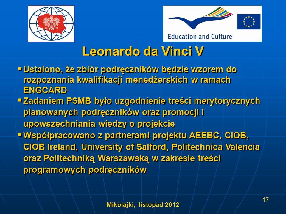 Leonardo da Vinci V Ustalono, że zbiór podręczników będzie wzorem do rozpoznania kwalifikacji menedżerskich w ramach ENGCARD.