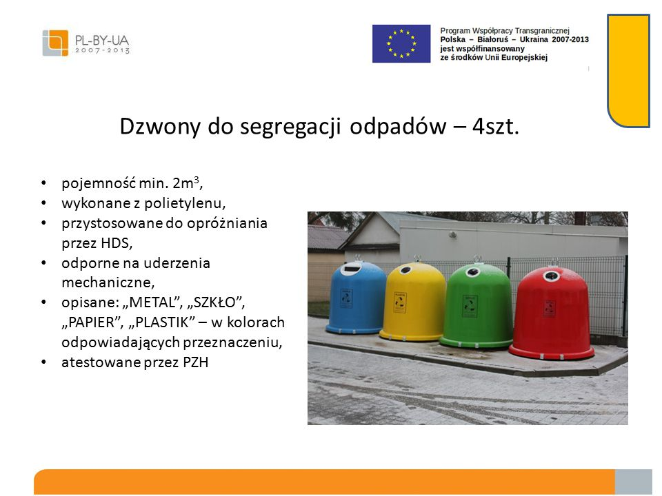 Dzwony do segregacji odpadów – 4szt.