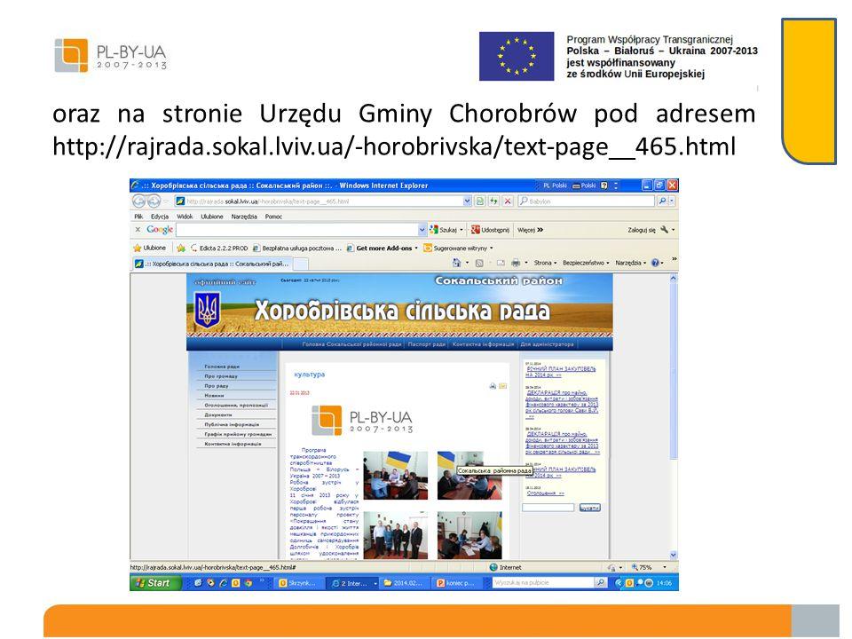 oraz na stronie Urzędu Gminy Chorobrów pod adresem http://rajrada