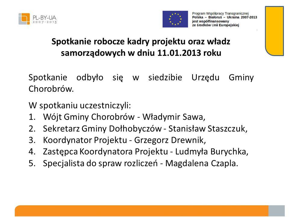 Spotkanie robocze kadry projektu oraz władz samorządowych w dniu 11.01.2013 roku
