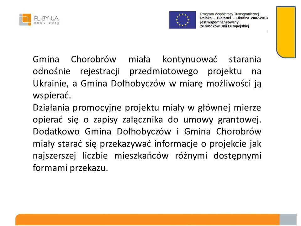 Gmina Chorobrów miała kontynuować starania odnośnie rejestracji przedmiotowego projektu na Ukrainie, a Gmina Dołhobyczów w miarę możliwości ją wspierać.