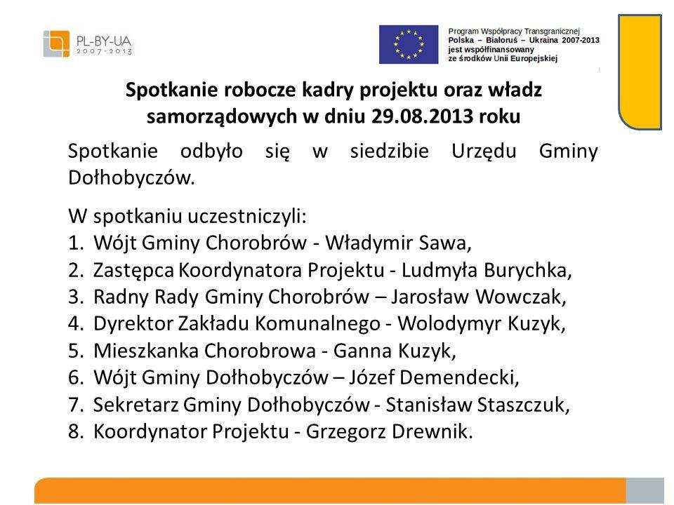 Spotkanie robocze kadry projektu oraz władz samorządowych w dniu 29.08.2013 roku