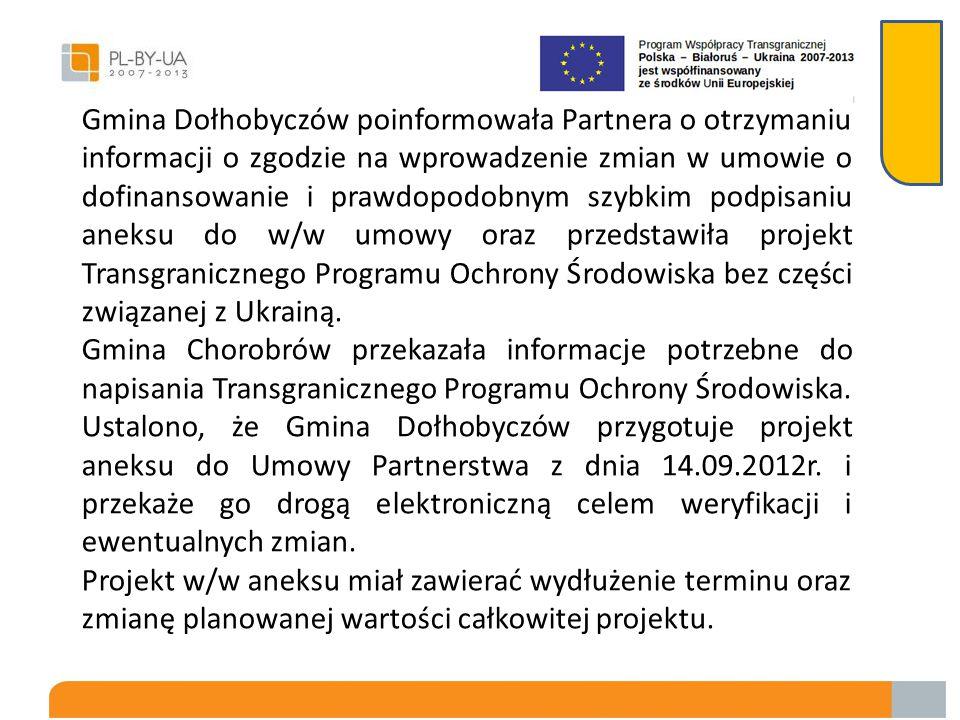 Gmina Dołhobyczów poinformowała Partnera o otrzymaniu informacji o zgodzie na wprowadzenie zmian w umowie o dofinansowanie i prawdopodobnym szybkim podpisaniu aneksu do w/w umowy oraz przedstawiła projekt Transgranicznego Programu Ochrony Środowiska bez części związanej z Ukrainą.