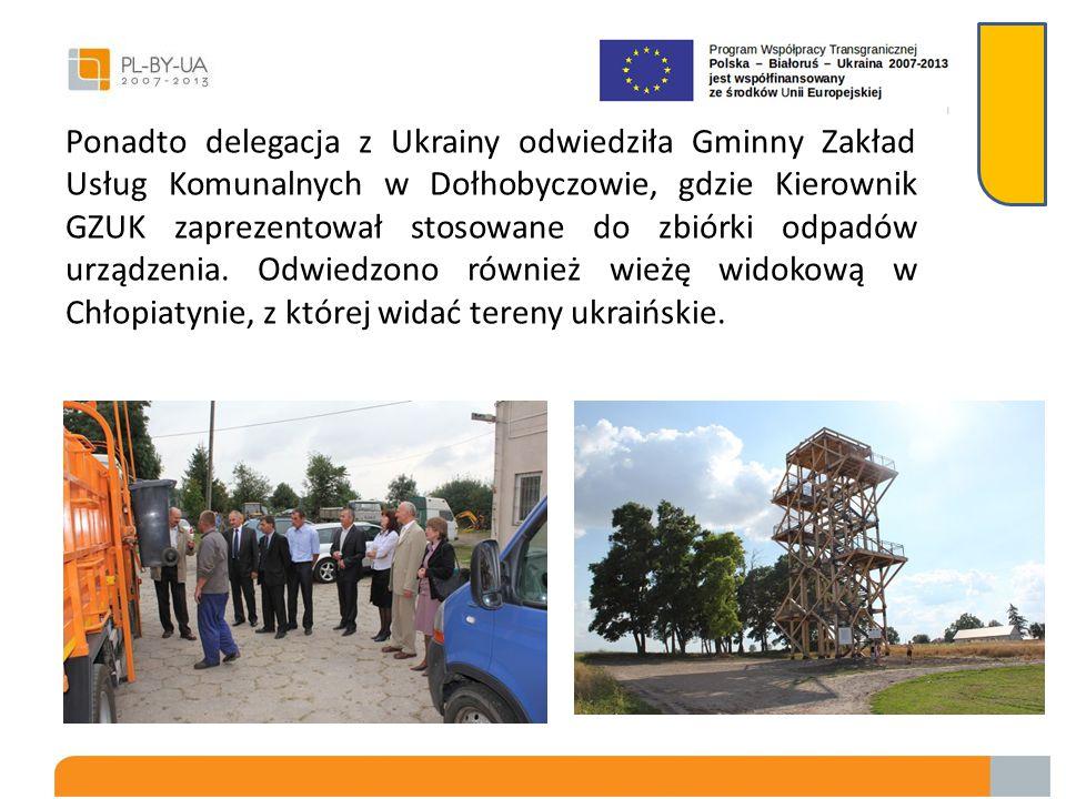 Ponadto delegacja z Ukrainy odwiedziła Gminny Zakład Usług Komunalnych w Dołhobyczowie, gdzie Kierownik GZUK zaprezentował stosowane do zbiórki odpadów urządzenia.