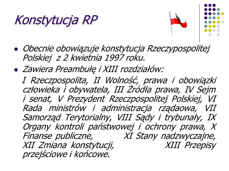 Konstytucja RP Obecnie obowiązuje konstytucja Rzeczypospolitej Polskiej z 2 kwietnia 1997 roku. Zawiera Preambułę i XIII rozdziałów: