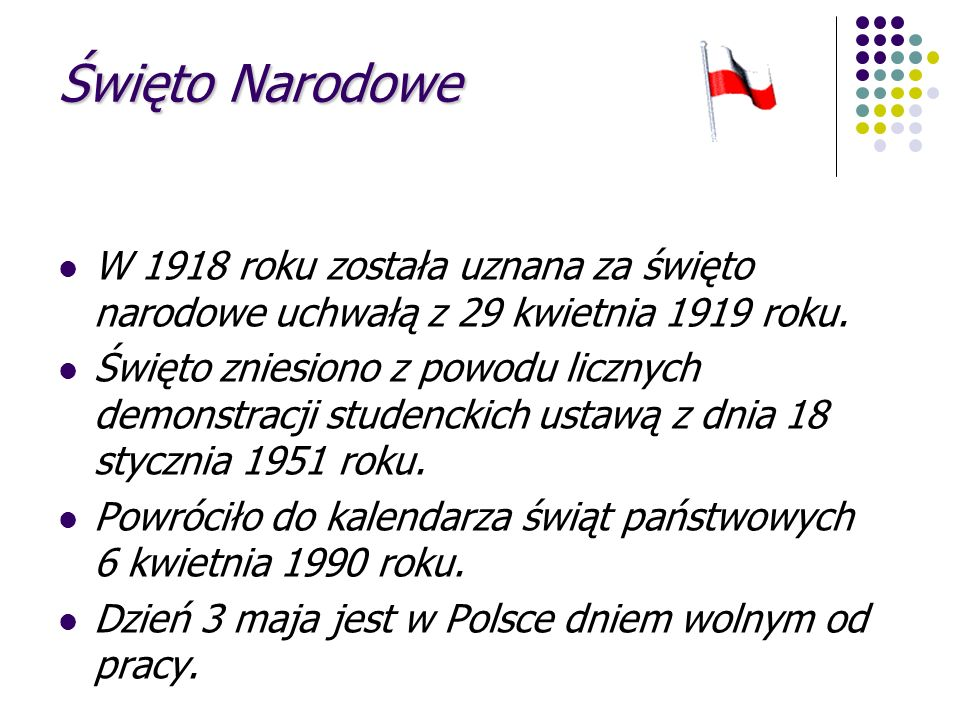 Święto Narodowe W 1918 roku została uznana za święto narodowe uchwałą z 29 kwietnia 1919 roku.