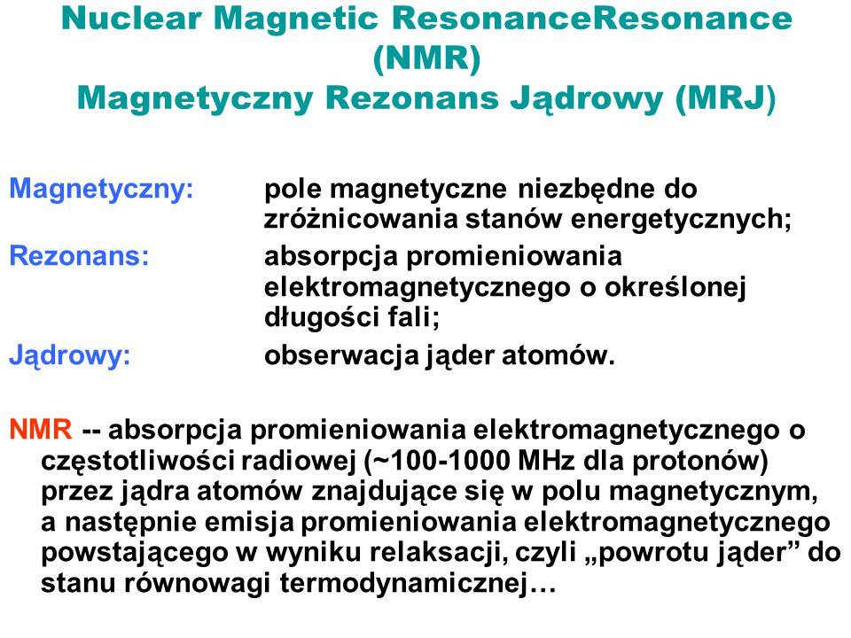 Nuclear Magnetic ResonanceResonance (NMR) Magnetyczny Rezonans Jądrowy (MRJ)