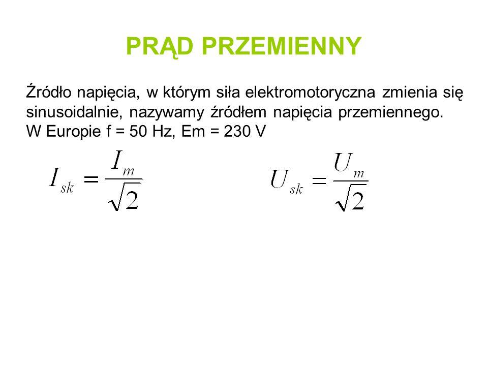 PRĄD PRZEMIENNY Źródło napięcia, w którym siła elektromotoryczna zmienia się sinusoidalnie, nazywamy źródłem napięcia przemiennego.