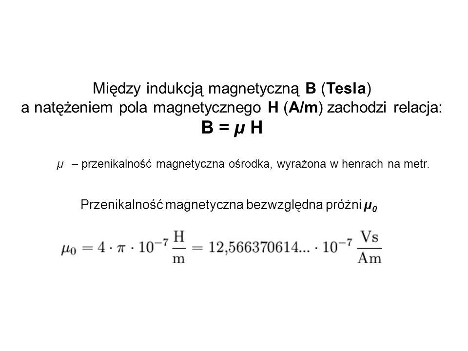 B = µ H Między indukcją magnetyczną B (Tesla)