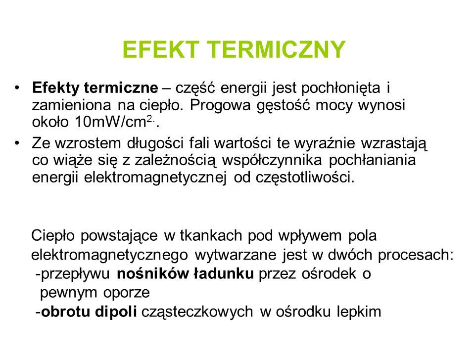 EFEKT TERMICZNY Efekty termiczne – część energii jest pochłonięta i zamieniona na ciepło. Progowa gęstość mocy wynosi około 10mW/cm2..