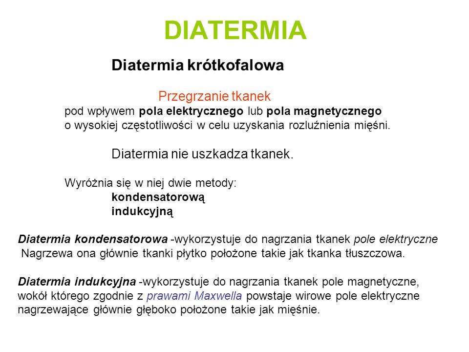 DIATERMIA Diatermia krótkofalowa Przegrzanie tkanek