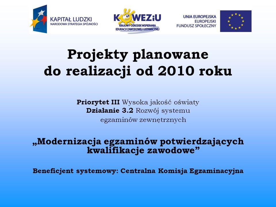 Projekty planowane do realizacji od 2010 roku