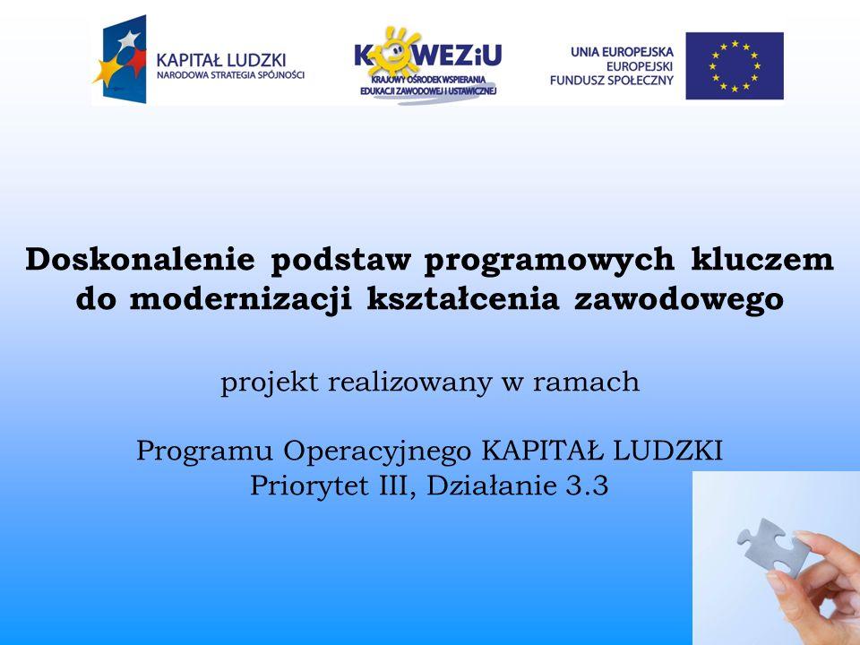 Doskonalenie podstaw programowych kluczem do modernizacji kształcenia zawodowego projekt realizowany w ramach