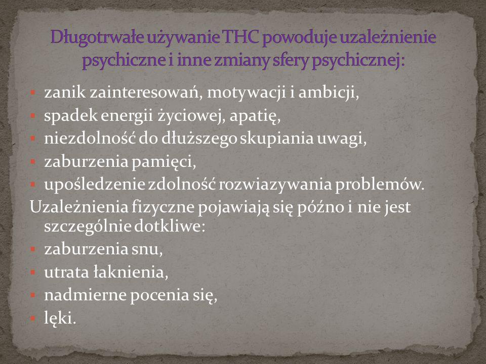 Długotrwałe używanie THC powoduje uzależnienie psychiczne i inne zmiany sfery psychicznej: