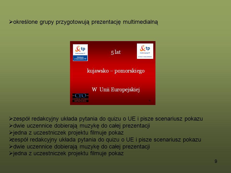 określone grupy przygotowują prezentację multimedialną