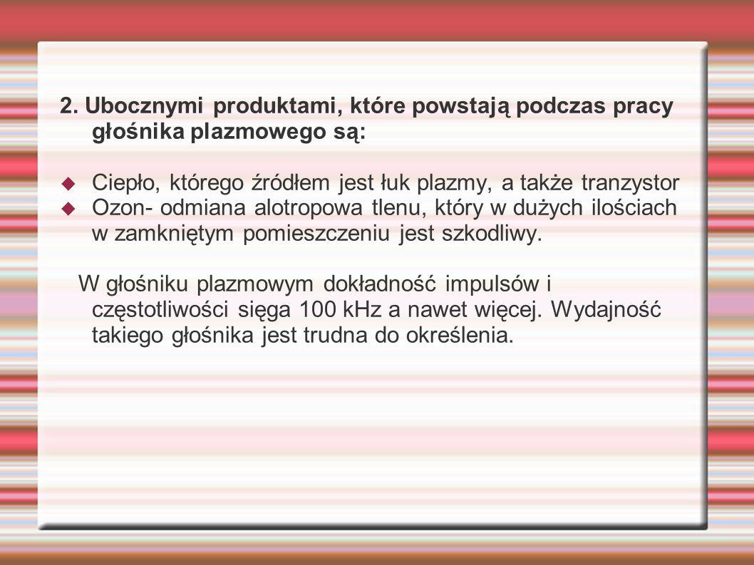 2. Ubocznymi produktami, które powstają podczas pracy głośnika plazmowego są:
