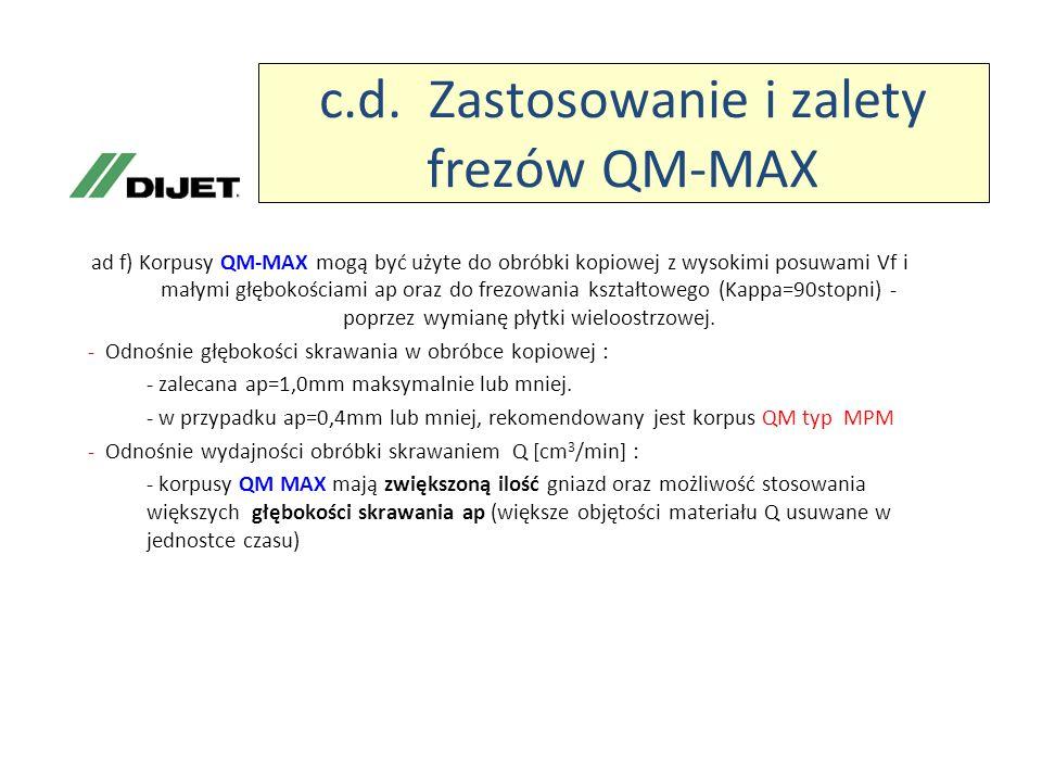 c.d. Zastosowanie i zalety frezów QM-MAX