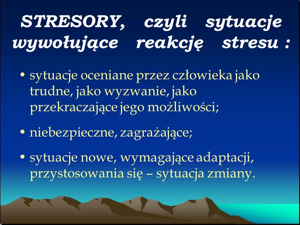 STRESORY, czyli sytuacje wywołujące reakcję stresu :