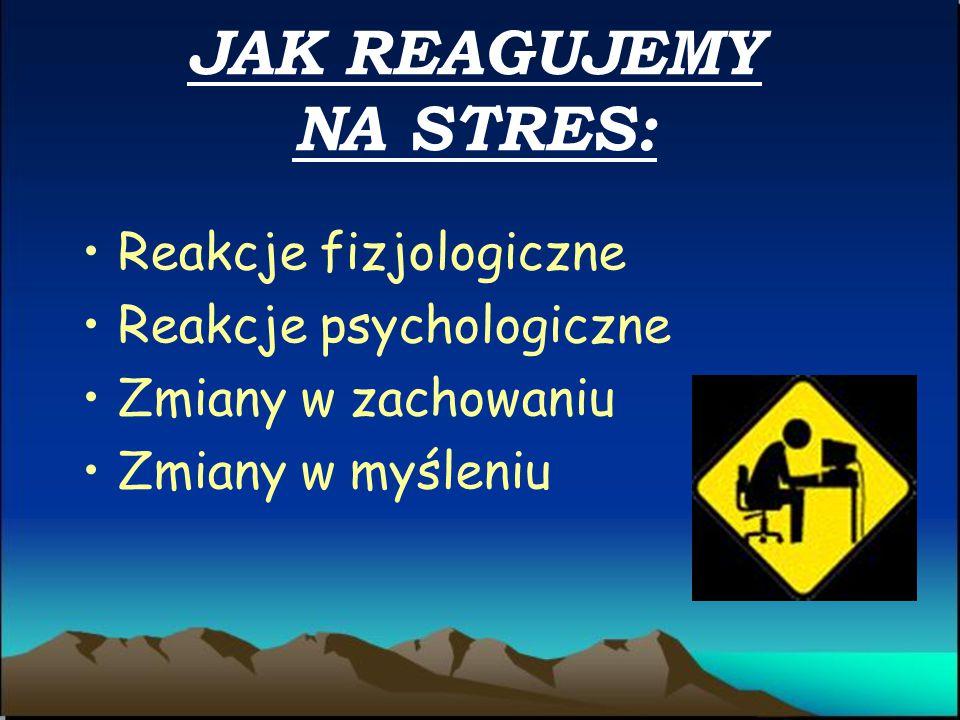 JAK REAGUJEMY NA STRES: