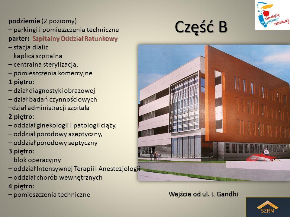 Część B podziemie (2 poziomy) – parkingi i pomieszczenia techniczne