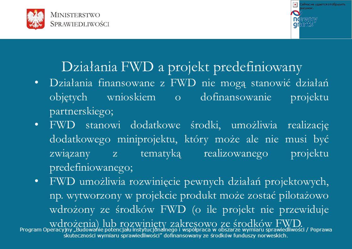 Działania FWD a projekt predefiniowany