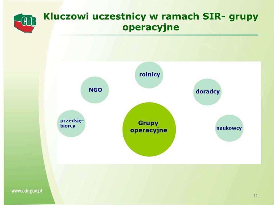 Kluczowi uczestnicy w ramach SIR- grupy operacyjne