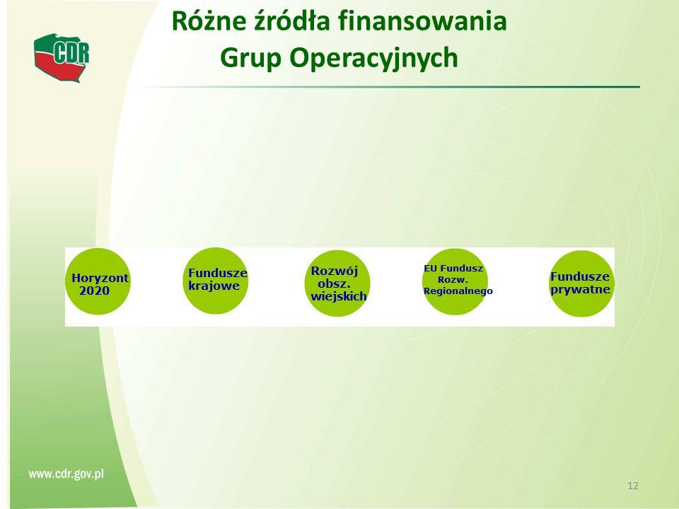 Różne źródła finansowania Grup Operacyjnych