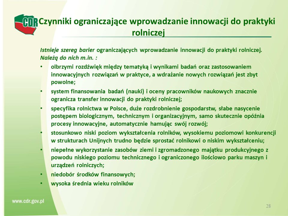 Czynniki ograniczające wprowadzanie innowacji do praktyki rolniczej