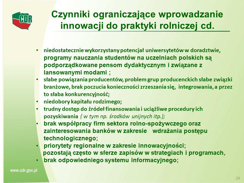 Czynniki ograniczające wprowadzanie innowacji do praktyki rolniczej cd.
