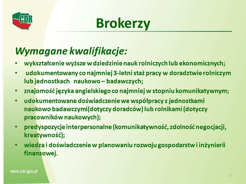 Brokerzy Wymagane kwalifikacje: