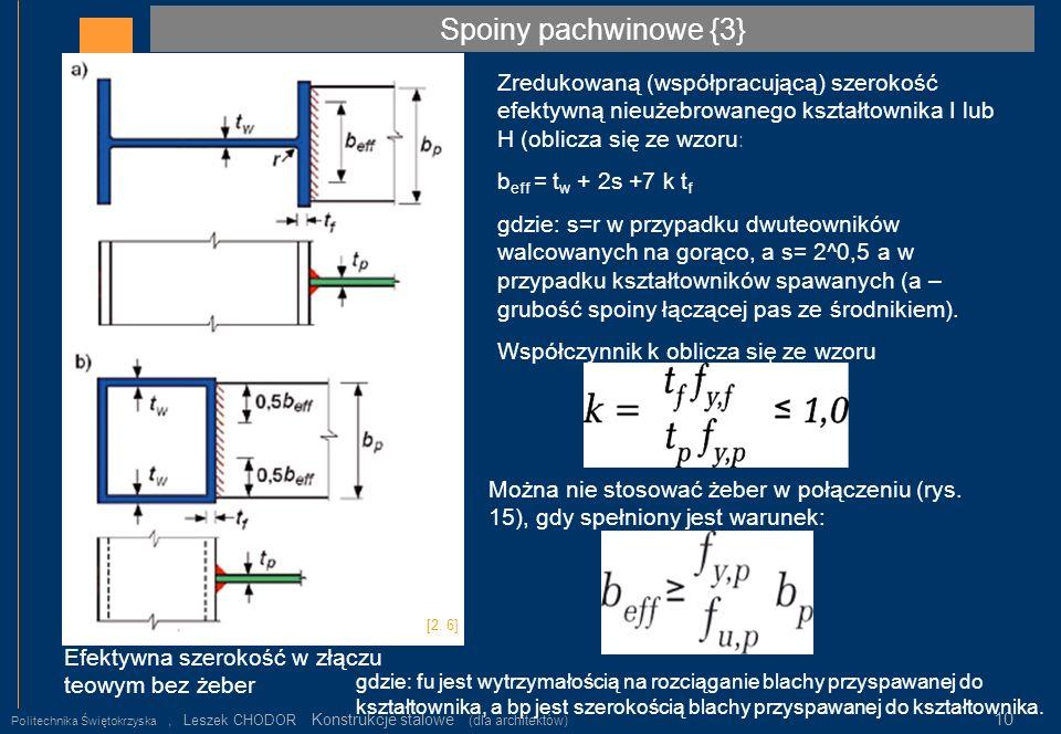 Spoiny pachwinowe {3} Zredukowaną (współpracującą) szerokość efektywną nieużebrowanego kształtownika I lub H (oblicza się ze wzoru: