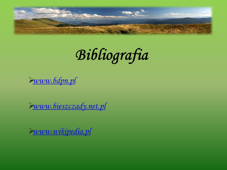 Bibliografia www.bdpn.pl www.bieszczady.net.pl www.wikipedia.pl