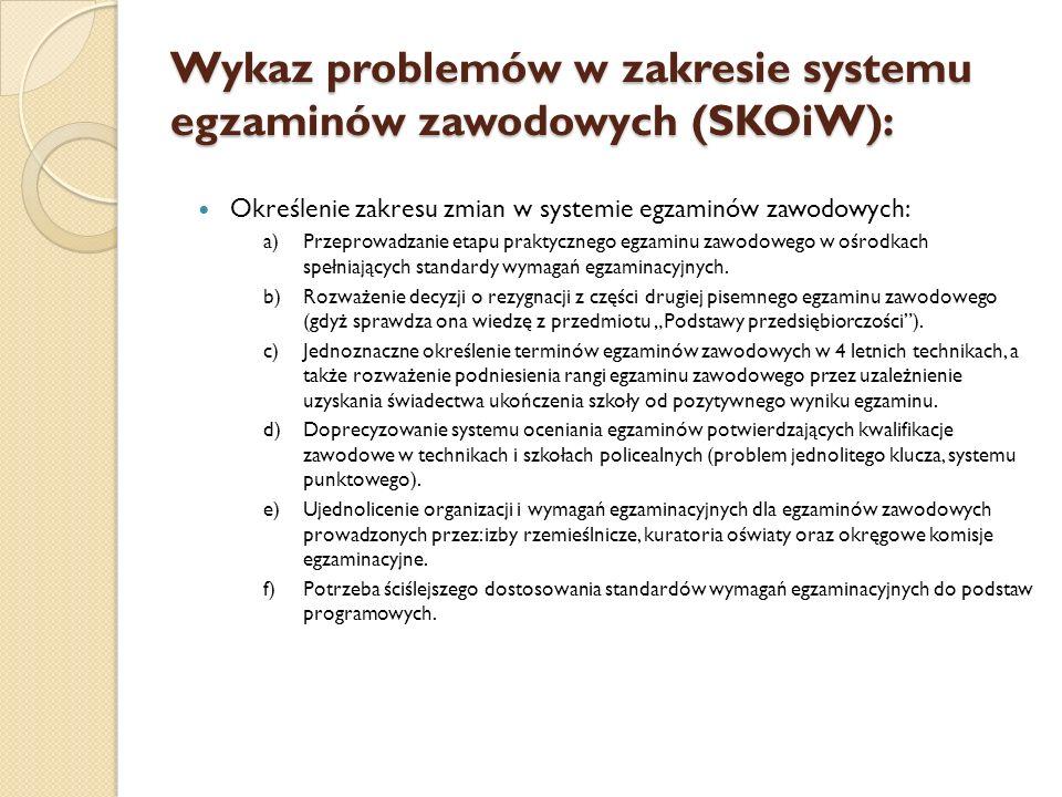 Wykaz problemów w zakresie systemu egzaminów zawodowych (SKOiW):