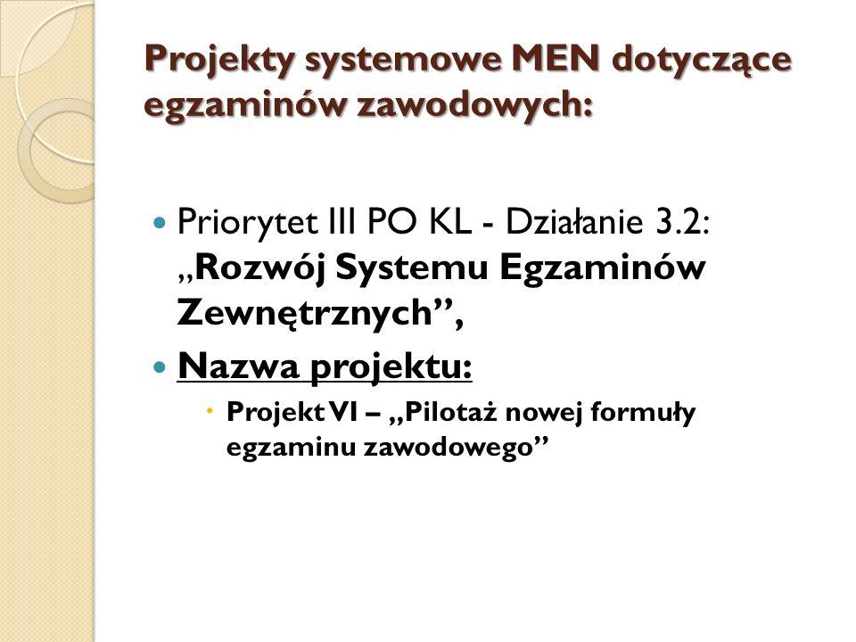 Projekty systemowe MEN dotyczące egzaminów zawodowych: