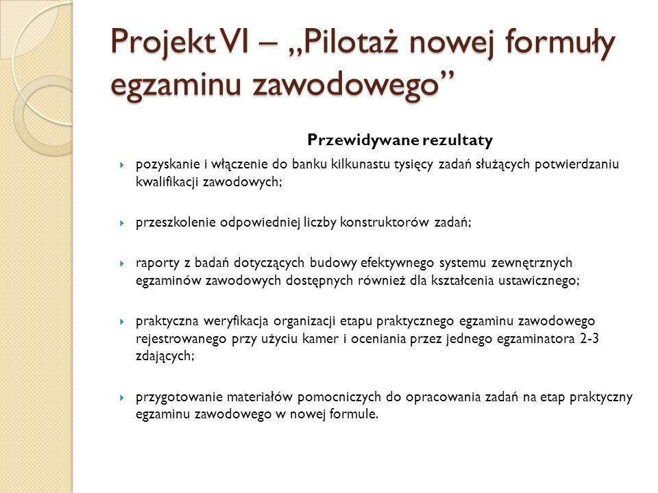 """Projekt VI – """"Pilotaż nowej formuły egzaminu zawodowego"""