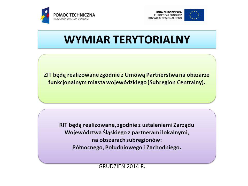 WYMIAR TERYTORIALNY ZIT będą realizowane zgodnie z Umową Partnerstwa na obszarze funkcjonalnym miasta wojewódzkiego (Subregion Centralny).