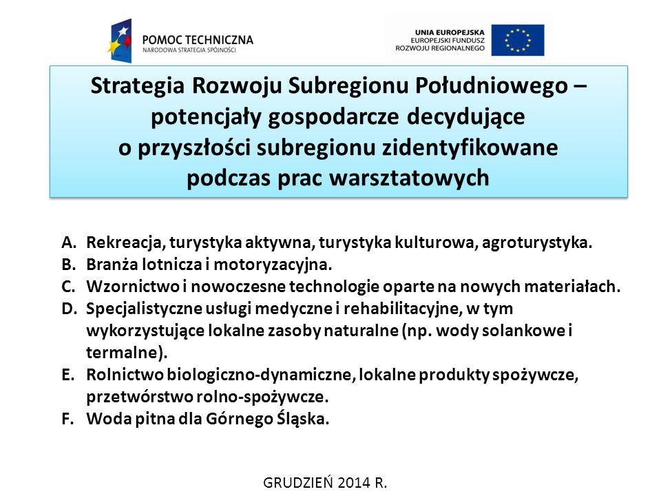 Strategia Rozwoju Subregionu Południowego – potencjały gospodarcze decydujące o przyszłości subregionu zidentyfikowane podczas prac warsztatowych