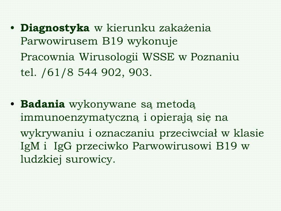 Diagnostyka w kierunku zakażenia Parwowirusem B19 wykonuje
