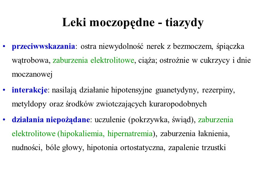 Leki moczopędne - tiazydy