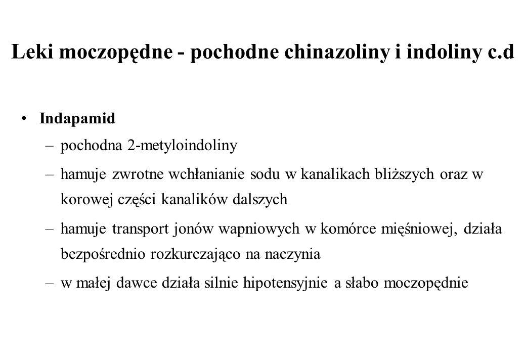 Leki moczopędne - pochodne chinazoliny i indoliny c.d